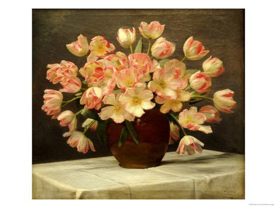 peter-johan-schou-tulips-in-a-vase-on-a-draped-table