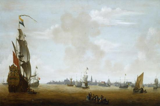 peter-van-den-velde-view-of-amsterdam-from-the-sea-17th-century