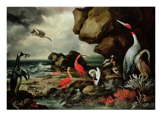 philip-reinagle-a-penguin-a-pair-of-flamingoes-and-other-exotic-birds-shells-and-coral-on-the-shoreline