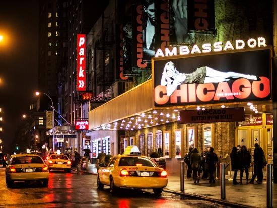 philippe-hugonnard-chicago-the-musical-yellow-cabs-in-front-of-the-ambassador-theatre-in-times-square-by-night