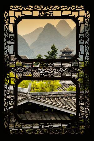 philippe-hugonnard-china-10mkm2-collection-asian-window-chinese-buddhist-temple-with-karst-mountains-at-sunset