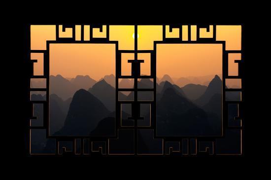 philippe-hugonnard-china-10mkm2-collection-asian-window-karst-mountains-at-sunset-yangshuo