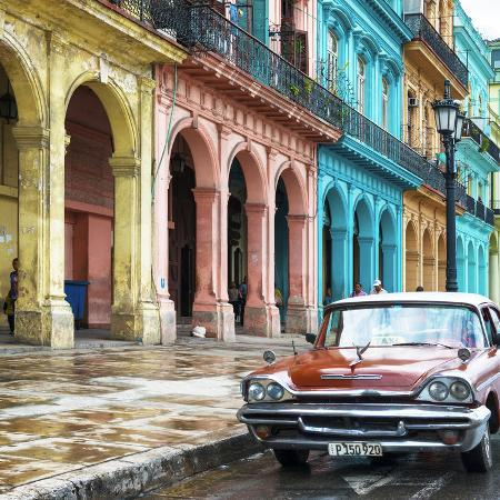 philippe-hugonnard-cuba-fuerte-collection-sq-colorful-buildings-and-red-taxi-car