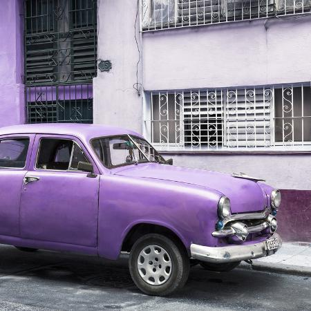 philippe-hugonnard-cuba-fuerte-collection-sq-old-purple-car-in-the-streets-of-havana