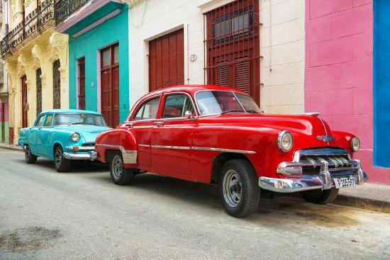 philippe-hugonnard-cuba-fuerte-collection-two-classic-red-and-turquoise-cars