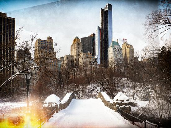 philippe-hugonnard-instants-of-ny-series-snowy-gapstow-bridge-of-central-park-manhattan-in-new-york-city