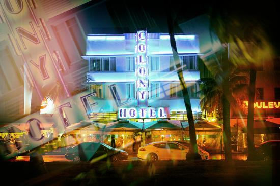 philippe-hugonnard-instants-of-series-miami-beach-art-deco-district-the-colony-hotel-by-night-ocean-drive