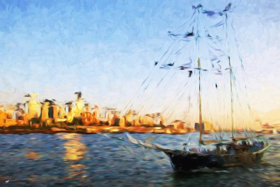 philippe-hugonnard-sunset-yacht-ii-in-the-style-of-oil-painting