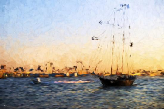 philippe-hugonnard-sunset-yacht-in-the-style-of-oil-painting