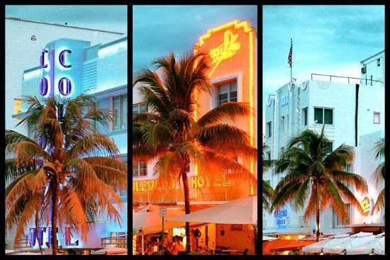 philippe-hugonnard-triptych-collection-colorful-ocean-drive-south-beach-miami-beach-art-deco-distric-florida