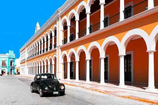 philippe-hugonnard-viva-mexico-collection-black-vw-beetle-and-orange-architecture-in-campeche