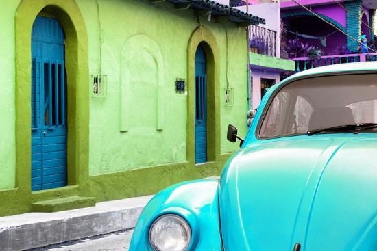 philippe-hugonnard-viva-mexico-collection-light-blue-vw-beetle-car-and-colorful-house