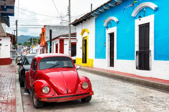 philippe-hugonnard-viva-mexico-collection-red-vw-beetle-car-and-colorful-houses