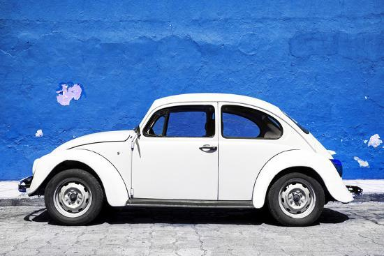 philippe-hugonnard-viva-mexico-collection-white-vw-beetle-car-and-royal-blue-street-wall