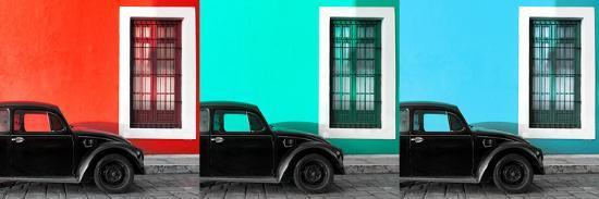 philippe-hugonnard-viva-mexico-panoramic-collection-three-black-vw-beetle-cars-ix