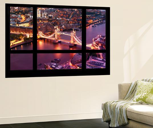 philippe-hugonnard-wall-mural-window-view-city-of-london-with-the-tower-bridge-at-night-london-uk-england