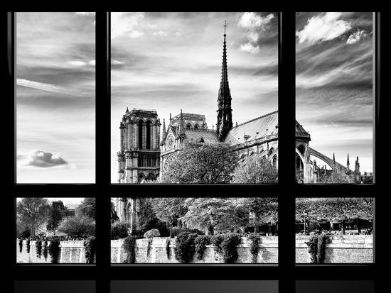 philippe-hugonnard-window-view-special-series-notre-dame-cathedral-view-paris-europe-black-and-white-photography