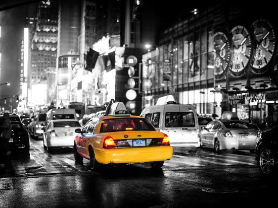 philippe-hugonnard-yellow-cab-on-7th-avenue-at-times-square-by-night