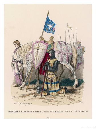 philippoteaux-french-chevalier-banneret-horseman-carrying-a-banner-prays-before-leaving-for-the-second-crusade