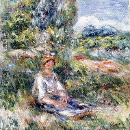 pierre-auguste-renoir-young-woman-sitting-in-a-meadow