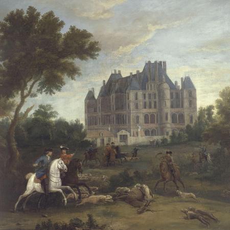 pierre-denis-martin-vue-du-chateau-de-madrid-dans-le-bois-de-boulogne-vers-1722-avec-chasse-au-cerf-du-duc-de
