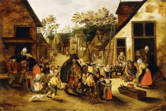 pieter-brueghel-the-younger-a-blind-hurdy-gurdy-player-surrounded-by-children-in-a-village-c-1610