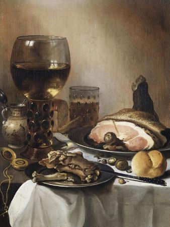 pieter-claesz-a-breakfast-still-life-of-a-roemer-ham-and-meat-on-pewter-plates-bread-and-a-gold-verge-watch-on