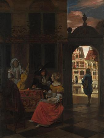 pieter-de-hooch-a-musical-party-in-a-courtyard-1677