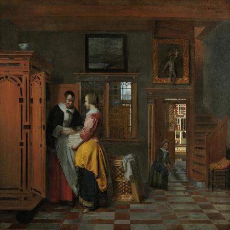 pieter-de-hooch-interior-with-women-beside-a-linen-chest-1663