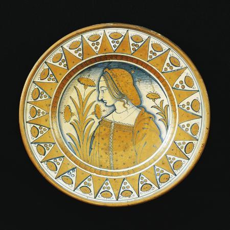 plate-decorated-with-female-figure-ceramic-deruta-manufacture-umbria-italy
