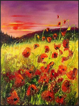 pol-ledent-red-poppies-sunset