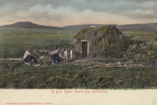 postcard-depicting-a-boer-cattle-guard-near-lydenburg