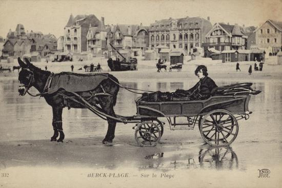 postcard-depicting-a-young-man-sitting-in-a-cart-being-drawn-by-a-donkey
