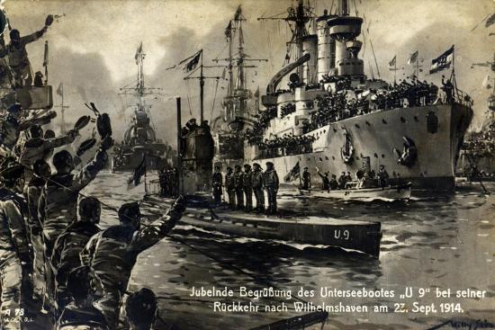 postcard-of-sailors-welcoming-the-u-boat-u9-on-its-return-to-wilhelmshaven-23rd-september-1914