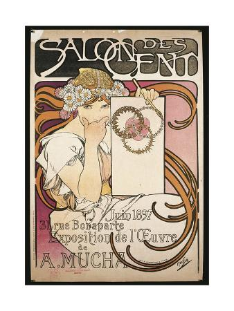 poster-advertising-salon-des-cent-exhibition-by-alphonse-mucha-1897
