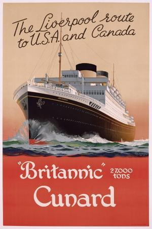 poster-advertising-the-liverpool-route-to-america-and-canada-with-cunard-ferries-c-1950