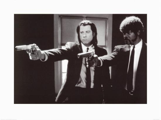 pulp-fiction-duo-with-guns-jackson-and-travolta-b-w-movie-poster