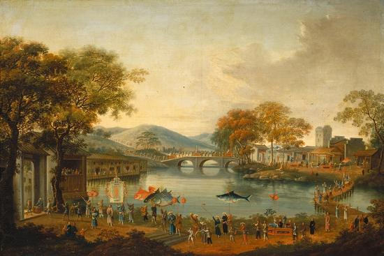 qing-dynasty-chinese-school-procession-by-a-lake