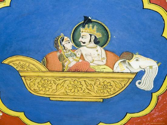 r-h-productions-beautiful-frescoes-on-walls-of-the-juna-mahal-fort-dungarpur-rajasthan-state-india