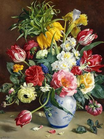 r-klausner-tulips-roses-narcissi-and-other-flowers-in-a-blue-and-white-vase