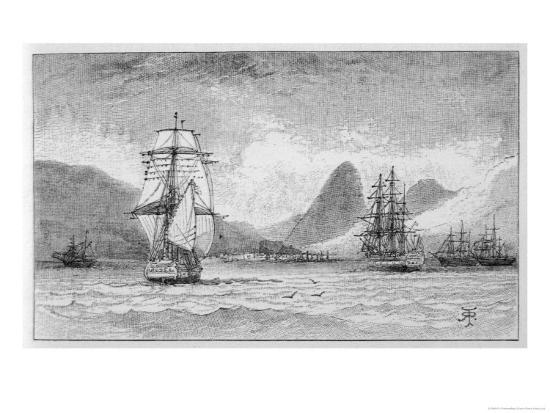 r-t-pritchett-hms-beagle-the-ship-in-which-charles-darwin-sailed-approaching-mauritius