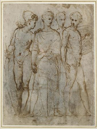 raphael-group-of-warriors-donatello-s-st-george-at-orsanmichele-in-the-centre-pen-and-brown-ink-on-white