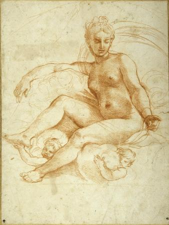 raphael-venus-seated-on-clouds-pointing-downwards