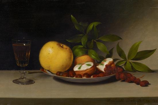raphaelle-peale-still-life-with-fruit-cakes-and-wine-1821