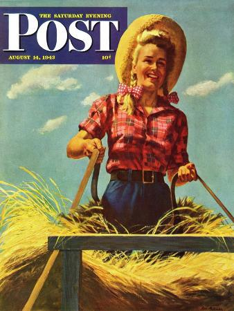 ray-prohaska-woman-driving-hay-wagon-saturday-evening-post-cover-august-14-1943