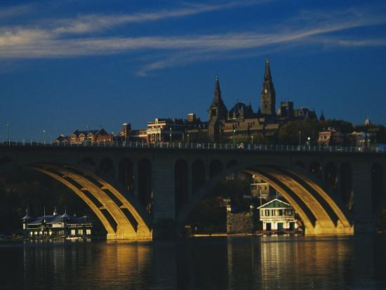 raymond-gehman-dusk-view-of-georgetown-university-above-key-bridge-over-the-potomac-river
