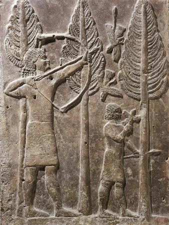 relief-depicting-scene-of-hunting-by-bow-from-palace-of-sargon-dur-sharrukin-iraq