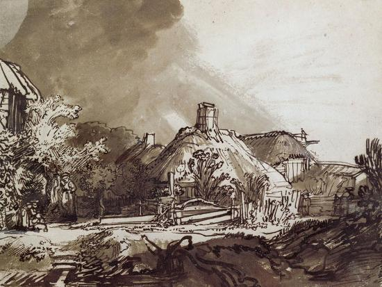 rembrandt-van-rijn-houses-under-a-stormy-sky-pen-and-brown-ink-drawing