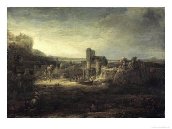 rembrandt-van-rijn-landscape-with-a-church
