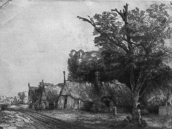 rembrandt-van-rijn-landscape-with-three-cottages-1650